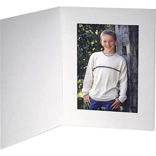 "Collector's Gallery White Contemporary  Portrait Folder with Plain Border  for 4 x 5"" Print , Model PF5410-45 (Portrait Format) - 25 Folders"