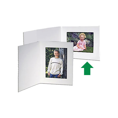 "Collector's Gallery White Contemporary  Portrait Folder with Plain Border  for 4 x 5"" Print , Model PF5410-54 (Landscape Format)"