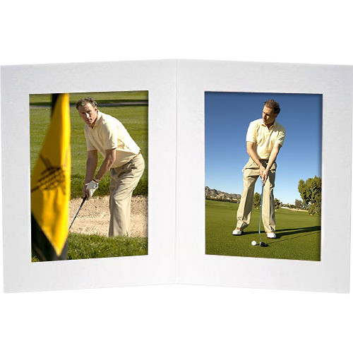 "Collector's Gallery Double View Portrait Folder with Plain Border, Model PF5412-46 for 4 x 6"" Print  (White)"