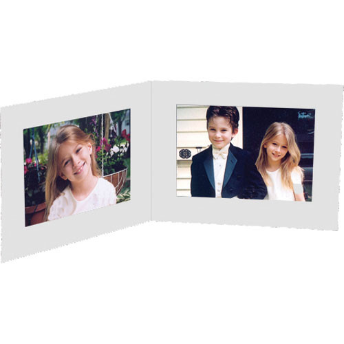 """Collector's Gallery White Double View Portrait Folder without Foil border  for 5 x 7"""" Print, Model PF5412-75 (Landscape Format)"""