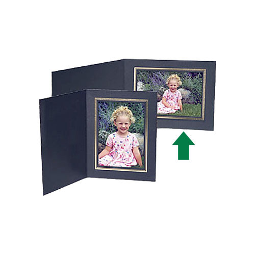 "Collector's Gallery Black Classic Portrait Folder with Gold Foil Border for 3.5 x 5"" Print (25 Folders)"