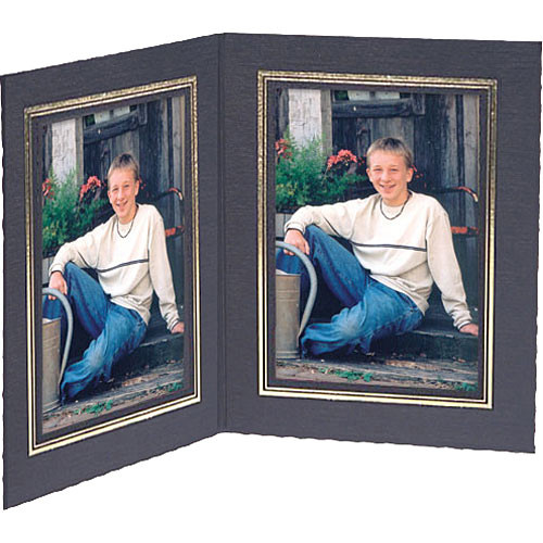 "Collector's Gallery Double View Folder-Classic Style  with Gold Foil Window Border , Model PF5502-57-for 5 x 7"" Prints (Portrait Format)"