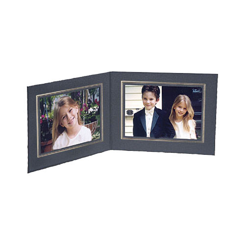 """Collector's Gallery Double View Folder-Classic Style  with Gold Foil Window Border , Model PF5502-57-for 5 x 7"""" Prints (Landscape Format)"""
