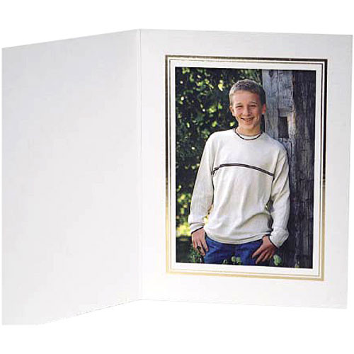 "Collector's Gallery White Classic  Portrait Folder with Gold Foil Border  for 4 x 6"" Print , Model PF5510-46 (Portrait Format)"