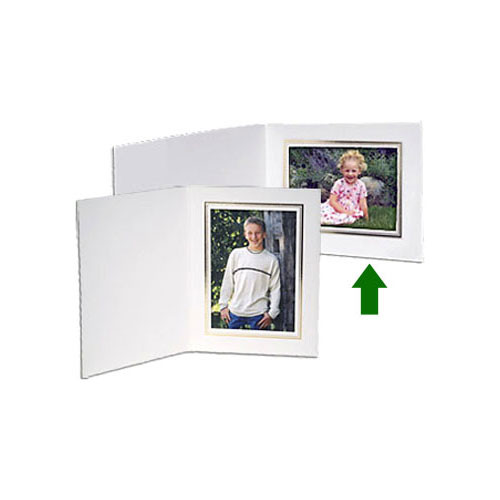 "Collector's Gallery White Classic  Portrait Folder with Gold Foil Border  for 5 x 7"" Print , Model PF5510-75 (Landscape Format)"