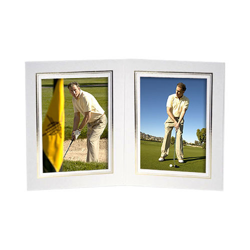 "Collector's Gallery White Double View Portrait Folder with Gold Foil Border  for 4 x 5"" Print, Model PF5512-45  (Portrait Format)"