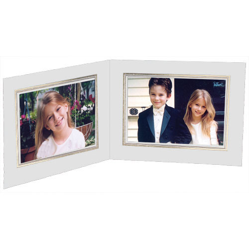 """Collector's Gallery White Double View Portrait Folder with Gold Foil Border  for 4 x 6"""" Print, Model PF5512-64 (Landscape Format)"""