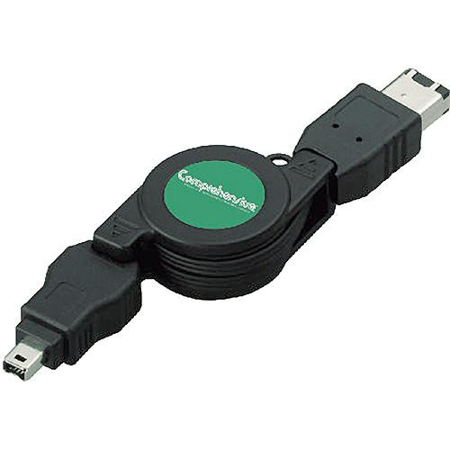 Comprehensive 3' (0.9 m) 6-Pin to 4-Pin Retractable FireWire-400 Cable