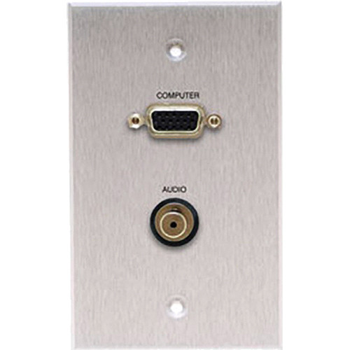 Comprehensive WP-1520-E-P-SB Single-Gang HD15/Stereo Mini Passthru Wall Plate