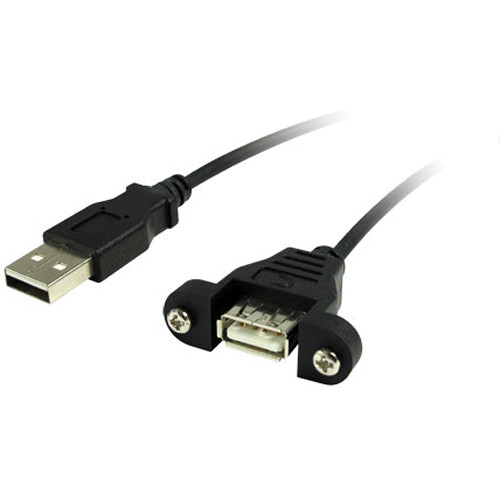 Comprehensive 3' (0.91 m) USB A Female to A Male Panel Mount Cable