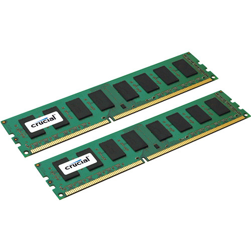Crucial 16GB (2x 8GB) 240-Pin DIMM DDR3 PC3-10600 ECC Memory Module Bundle