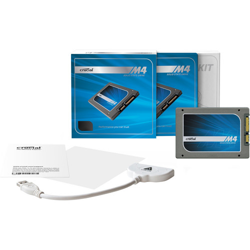 """Crucial 64GB m4 SSD 2.5"""" Solid State Internal Drive with Data Transfer Kit"""