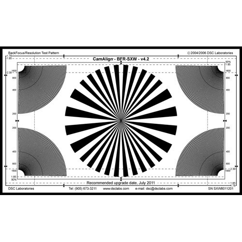 DSC Labs Backfocus Super Maxi Focus Pattern Chart with Resolution