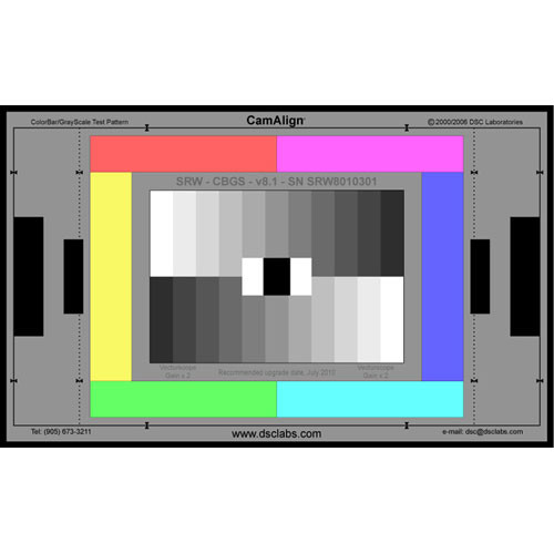DSC Labs ColorBar/GrayScale Senior CamAlign Chip Chart
