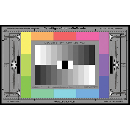DSC Labs ChromaDuMonde 12-R Standard CamAlign Chip Chart with Resolution