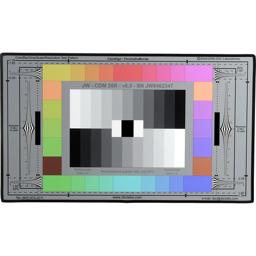 DSC Labs ChromaDuMonde 28-R Junior CamAlign Chip Chart with Resolution Trumpets
