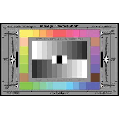 DSC Labs ChromaDuMonde 28-R Senior CamAlign Chip Chart with Resolution Trumpets and CavityBlack