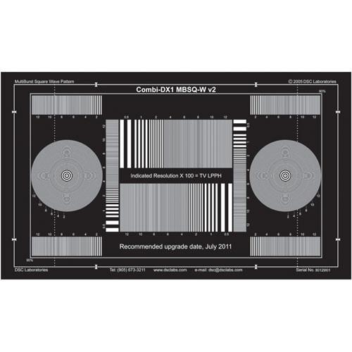 DSC Labs Combi MultiBurst SquareWave DX-1 White on Black Calibration Chart