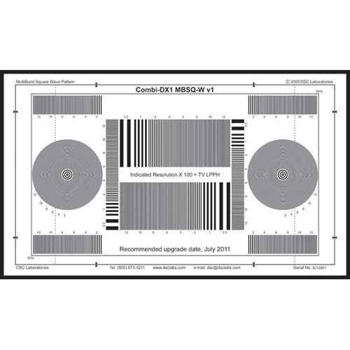 DSC Labs Combi MultiBurst SquareWave DX-1 Black on White Calibration Chart