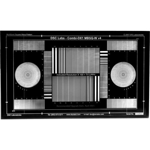 DSC Labs DX-1 MultiBurst Squarewave 16:9 / 4:3 Test Chart (White on Black)