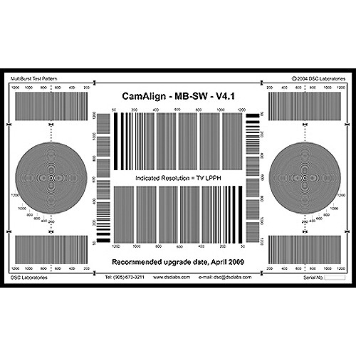 DSC Labs DX-1 MultiBurst Squarewave Test Chart (Black On White)