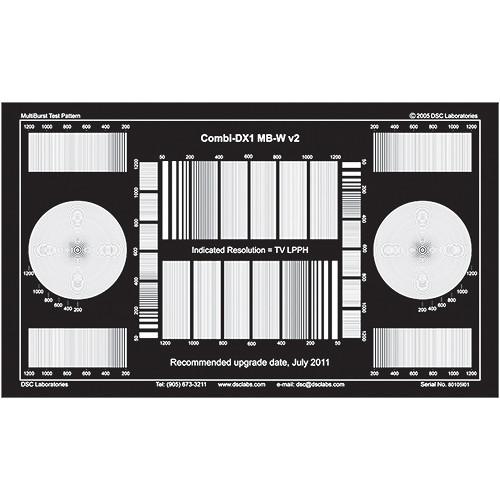 DSC Labs DX1 16:9 / 4:3 Multiburst Test Target (White on Black)