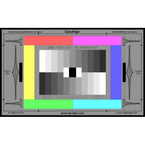 DSC Labs ColorBar/GrayScale Senior CamAlign Chip Chart with Resolution
