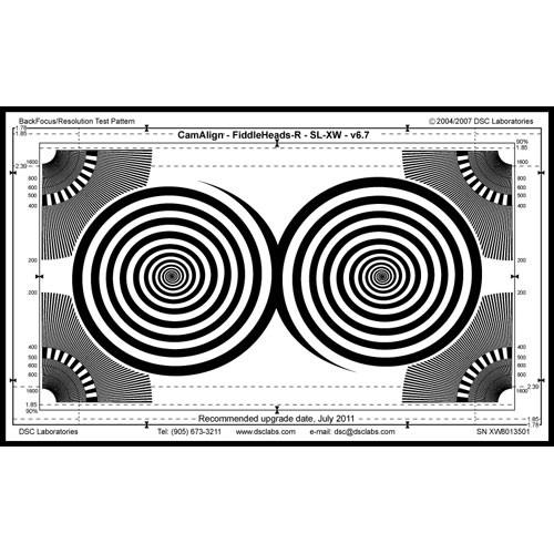 DSC Labs Fiddlehead / BackFocus Maxi Focus Pattern & Resolution Chart