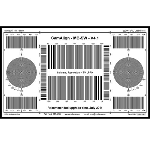 DSC Labs MultiBurst Standard Focus Pattern Chart with Resolution