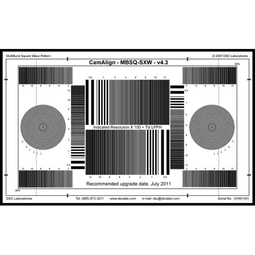 DSC Labs Square Wave Super Maxi Focus Pattern Chart with Resolution