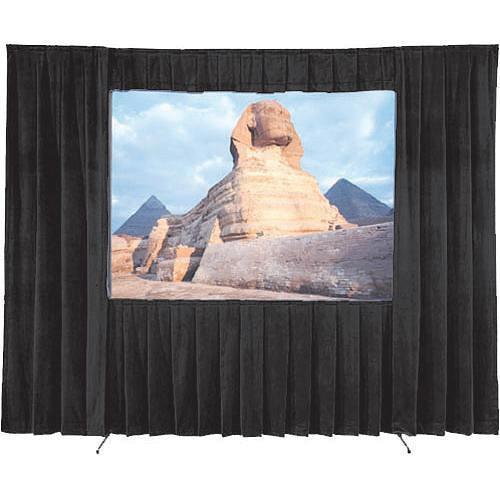 """Da-Lite 36657 Ultra Velour Drapery Kit for Fast-Fold Truss Frames (12'4"""" x 21', Black)"""