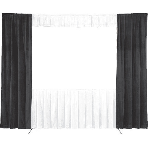 """Da-Lite 36696 Wing Drapes ONLY for the 10'6"""" x 14' Fast-Fold Deluxe Frame (One Pair, Black)"""