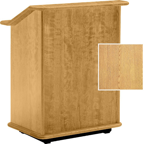 "Da-Lite Lancaster 25"" Adjustable Floor Lectern w/Sound System (Light Oak)"