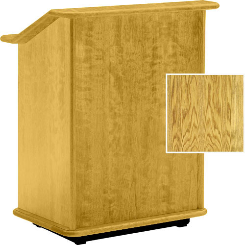 "Da-Lite Lancaster 32"" Adjustable Floor Lectern w/Sound System (Medium Oak)"