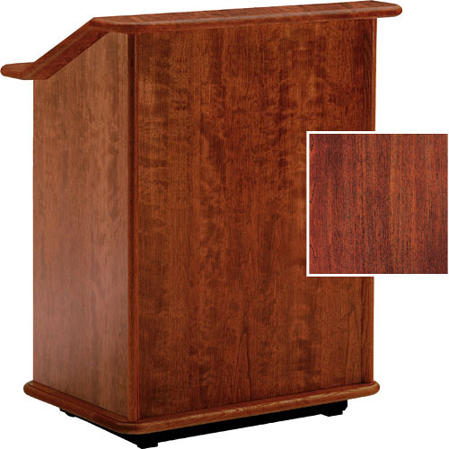 "Da-Lite Lancaster 32"" Adjustable Floor Lectern w/Sound System (Mahogany)"