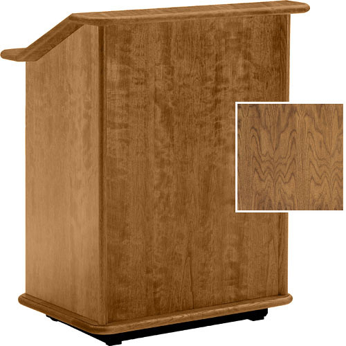 "Da-Lite Lancaster 32"" Adjustable Floor Lectern w/Sound System (Natural Walnut)"