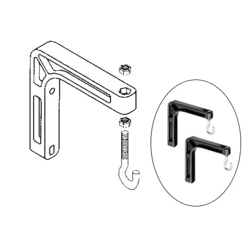 "Da-Lite 98035 #6 Wall Mount Brackets (Extends 6"", Pair, Black)"