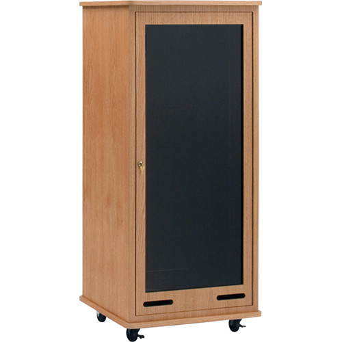 Da-Lite 30 RU Space Equipment Rack Cart (Light Oak Veneer)