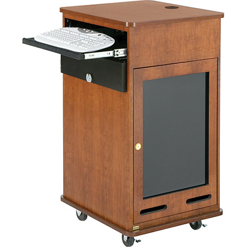 Da-Lite 17 RU Space Equipment Rack Cart with Keyboard Shelf (Natural Walnut Veneer)