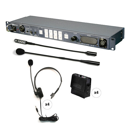 Datavideo ITC-100 8-User Wired Intercom System with 4 Beltbacks & 4 Headsets