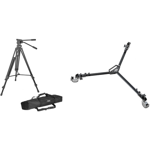 "Davis & Sanford 75mm ProVista Tripod, FM18 Head, and W3 Dolly with 3"" Wheels Kit"