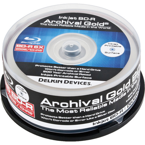 Delkin Devices Blu-ray 200 Year Disc with Inkjet Printable Surface (Spindle Pack of 25)