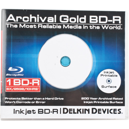 Delkin Devices Blu-ray 200 Year Disc with Inkjet Printable Surface (Single Jewel Case)