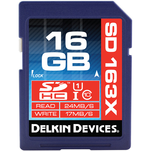 Delkin Devices 16GB SDHC Memory Card Pro Class 10