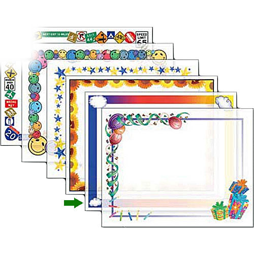 "Dry Lam Pizzazz Decorative Laminating Pouches - Rainbow Pack - Fun Frames 4.25 x 6.25""  (24 Pack)"