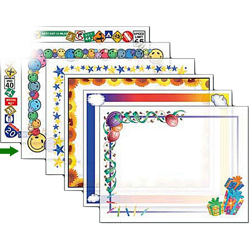 "Dry Lam Pizzazz Decorative Laminating Pouches - Smiley Pack - Fun Frames 9 x 11.5""  (24 Pack)"