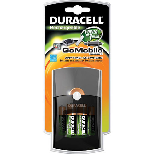 Duracell GoMobile Charger with Two AA and Two AAA NiMH Batteries (100-240V, 50-60Hz)