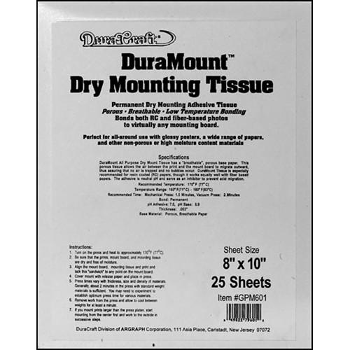 "Duracraft Dry Mount Tissue - 8 x 10"" - 25 Sheets"