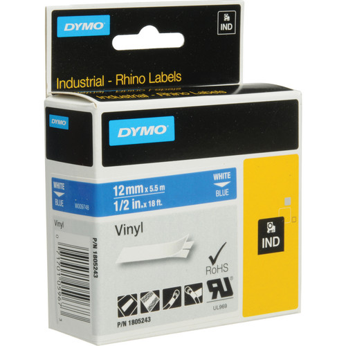 "Dymo Rhino 1/2"" Blue Vinyl Labels (White Print)"