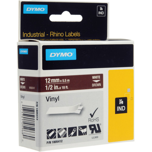 "Dymo Rhino 1/2"" Brown Vinyl Labels (White Print)"